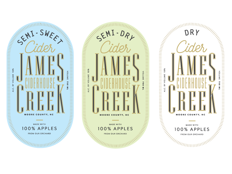 James Creek Labels apples cider label packaging typography type