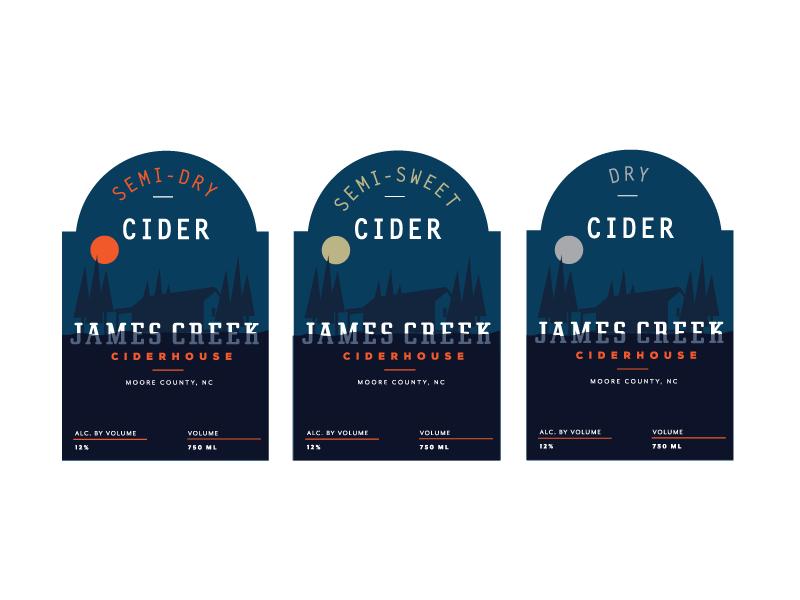 James Creek Labels illustrator creek moon packaging brand beverage alcohol apples cider label