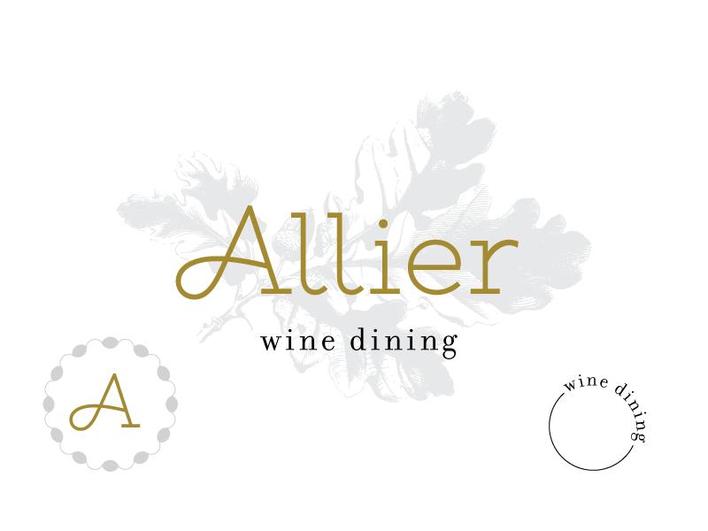 Allier dining logo french wine oak a type typography branding restaurant
