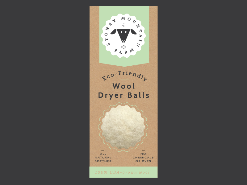 Stoney Mountain  eco-friendly packaging logo farm sheep wool dryer balls