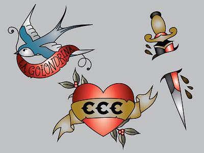 Tats american traditional bird sword coffee mom heart tat temporary tattoos