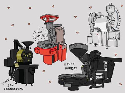 Roaster Stickers ipad pro drawing hearts stickers coffee roaster