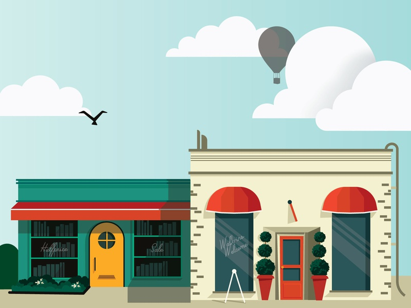 Shop Illustrations street city cloud building bookstore vector business small shop simple minimalist illustration