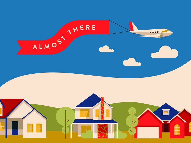 Almost There Neighborhood Illustration branding modern simple infographic elements poster graphic yellow typography airplane plane neighborhood vector homes midcentury minimalist illustration