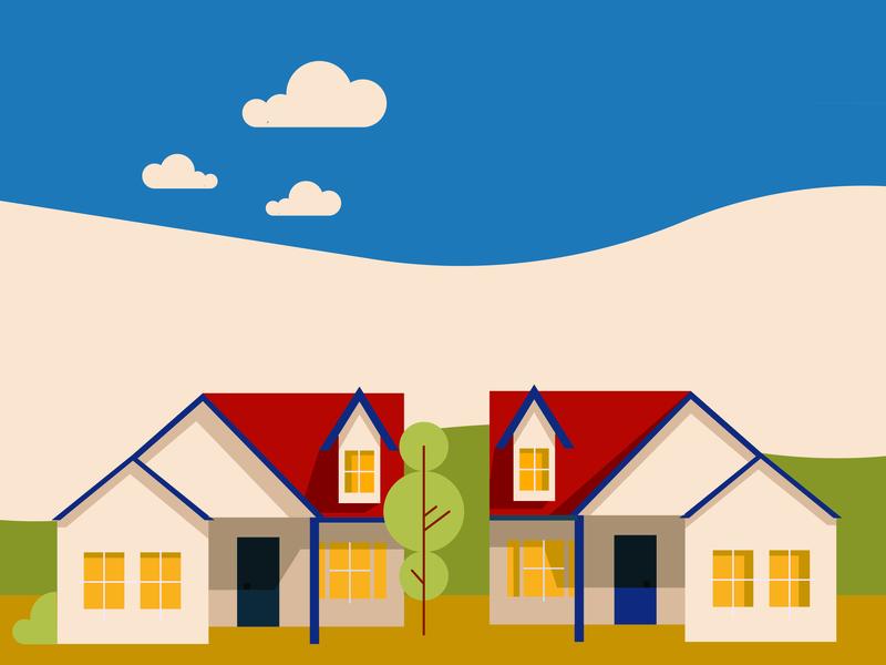 Duplex Illustration midcentury home design suburbs homes infographic elements yellow design vector simple modern minimalist illustration