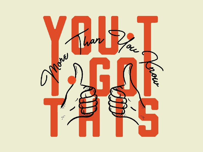 You Got This Typography red and black orange red poster design vector simple modern minimalist illustration thumbs up retro typography
