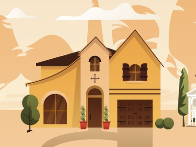 Spanish Style Home Illustration