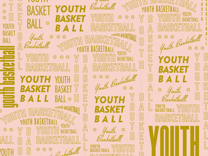 Youth Basketball Typography Pattern red green blue gold prink youth basketball typography poster type sans serif palm canyon retro poster branding simple minimalist pattern texture font tpye typography