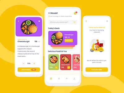 Food App UI Design art ux vector illustration design illustrator brand branding logo motion graphics graphic design 3d animation ui