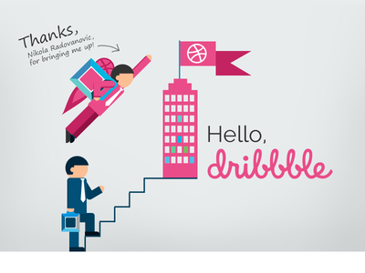 Dribbble Debut system thank you shot invite first illustration dribbble debut