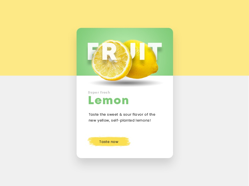 Lemon Fruit Teaser ux ui website green yellow lemon fruit webdesign teaser