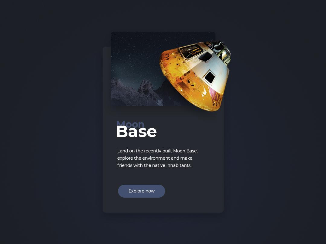Dark Moon Base Teaser website design minimal exploration space simple clean gray dark ux ui teaser moon