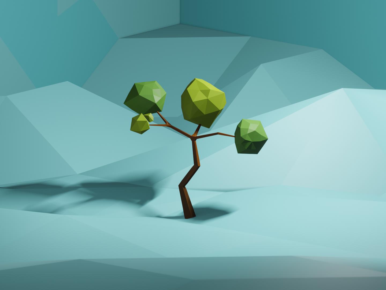 Low Poly Tree scene design low poly blender 3d