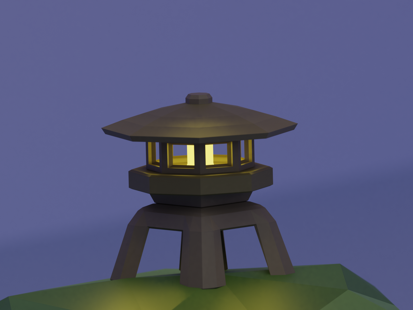 Low Poly Japanese Lantern (Single) simple night lantern japanese low poly art 3d