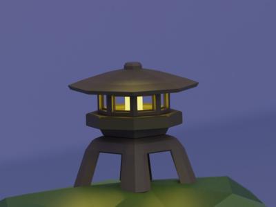 Low Poly Japanese Lantern (Single)