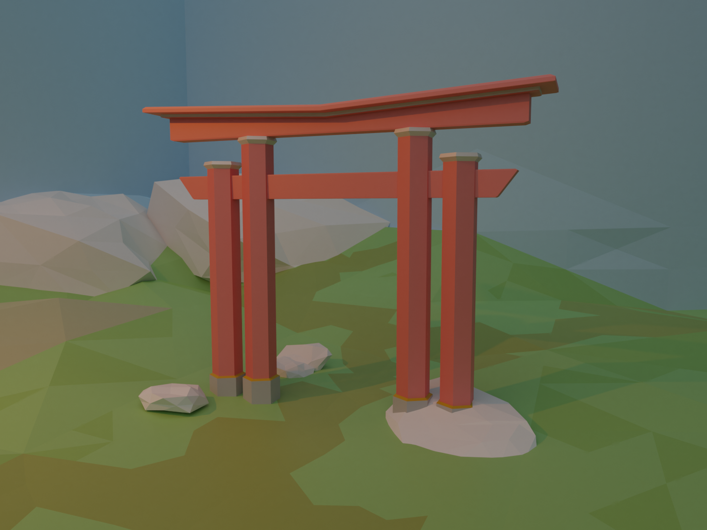 Low Poly Japanese Arch blender design low poly arch japanese 3d