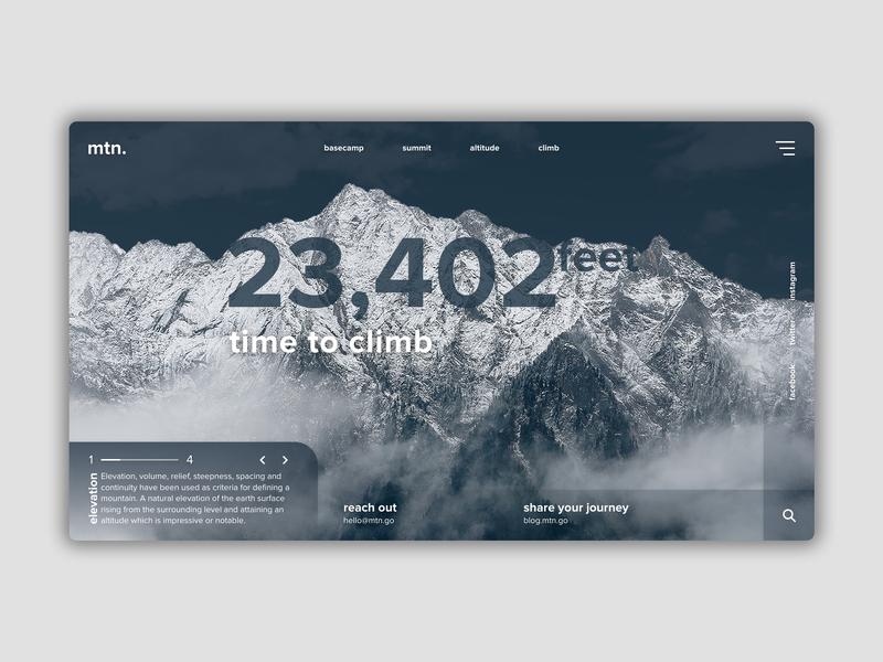 mtn mountain nature design adobexd ui web design