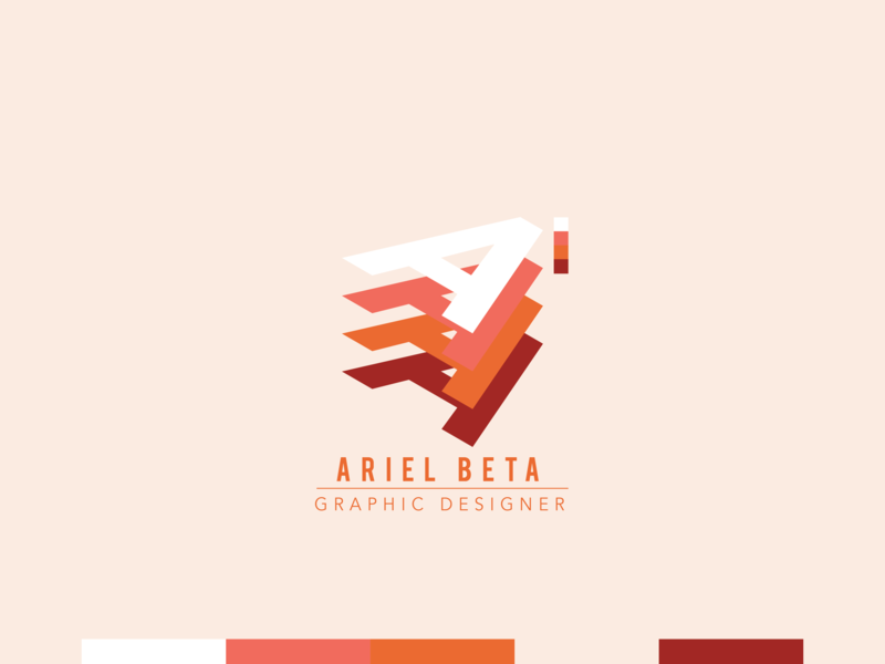 Ariel Beta personal Logo peach coral red graphic design brand art clean icon identity illustrator lettering type minimal flat typography branding vector logo design illustration