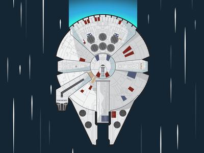 Millenium Falcon Flat design