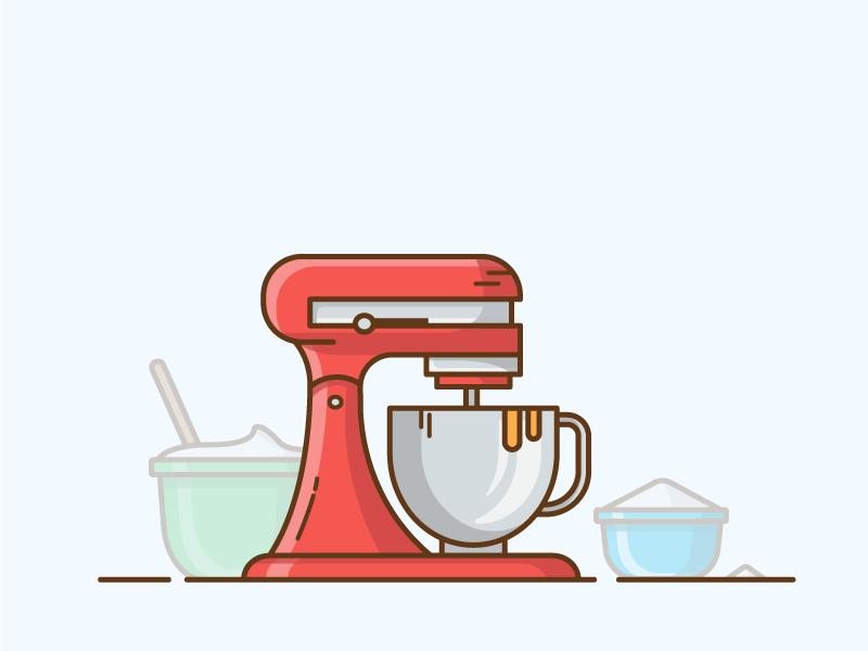 Baking Mixer sugar flavor bakeshop baked goods kitchenaid food kitchen blender baker mixer pastry bakery baking vector graphic design flat  design design conception logo illustration