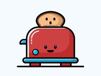 Toaster breakfast collection sticker