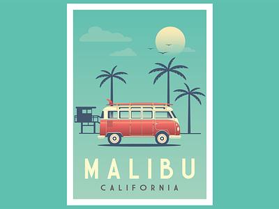 Malibu Vintage poster beach palm volkswagen retro car icon vector graphic design flat  design conception logo illustration design retro vintage poster california malibu vw van combi vw