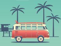 Combi van vintage in the Road trip