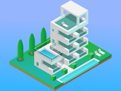 Isometric building pool