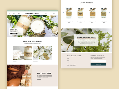 Pure Candle House Homepage branding design design branding candle company candle editorial ecommerce ux design ui design ux ui wed design web