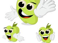 APPLE CARTOON CHARACTER EXPRESSION