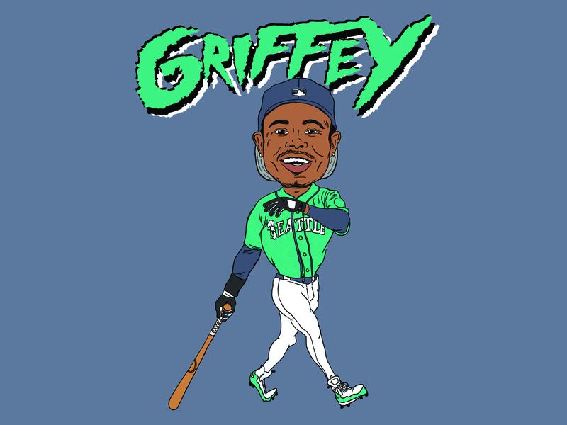 Griffey adobe photoshop sketch photoshop 90s illustrator mariners seattle mariners griffey ken griffey jr