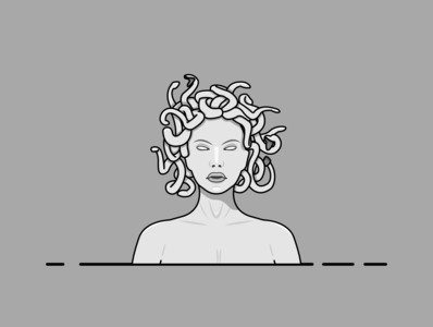 medusa (gorgo) artwork medusa graphics gray flat illustration flatdesign illustration art illustrations illustraion adobe illustrator designs graphicdesign illustrator minimal clean art flat vector illustration design