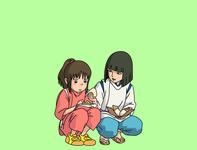 chihiro and haku 🤍 artwork arts flatdesign design art graphic design spirited away ghibli illustration art illustrations illustraion adobeillustator vector minimal designs clean art flat graphicdesign design illustration