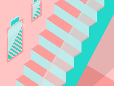 stairs° pink isometric art isometric minimalism flat design flatdesign illustration art illustrations illustraion illustrator designs vector flat minimal graphicdesign clean illustration art adobeillustator design
