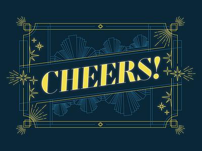 Cheers to 2021! nebraska glow star vintage roaring 20s retro adobe illustrator linework illustration cheers pantone 2021 pantone illuminating yellow color of the year typography celebration new years new year 2021