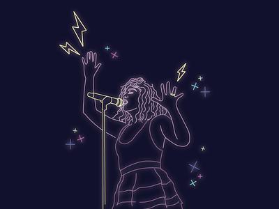 Lorde vector omaha graphic design design adobe illustrator illustration pop music purple lilac lightning bolt neon musician pop music lorde