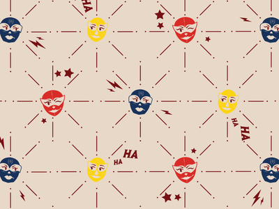Luchadora Pattern logo design illustration graphic design design adobe illustrator yellow blue red luchadora luchador logo branding restaurant branding pattern pattern design