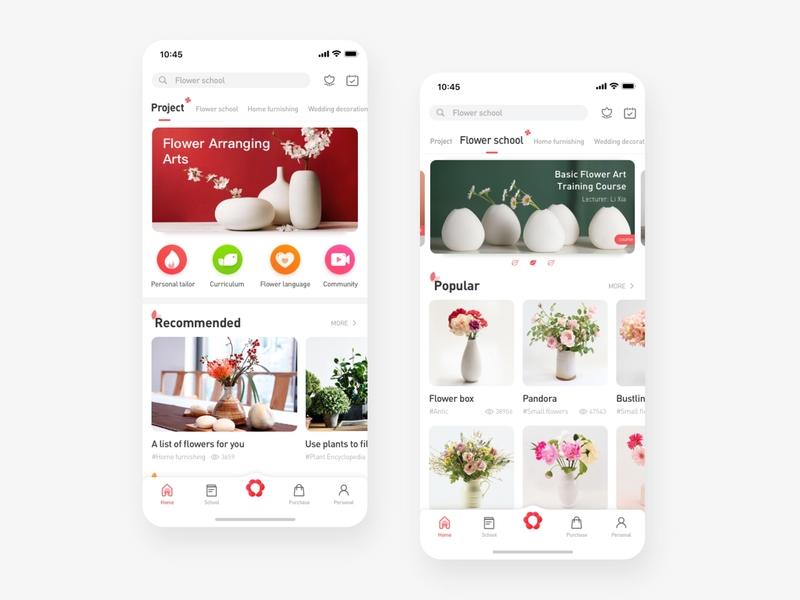 Flower app branding illustration ux app ui design