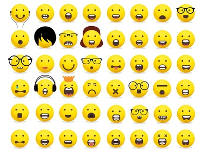 Smiley collection yellow face emoji smile smiley collection smiley collection