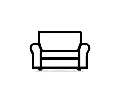 Sofa icon on white background