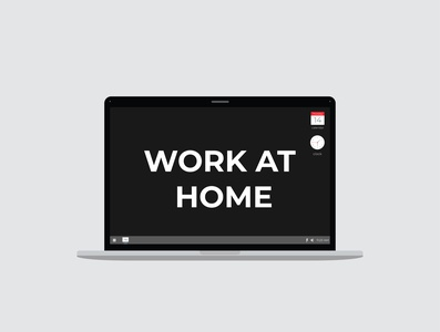 Work at home - Coronavirus prevention protection prevention poster pandemic message lettering infection illustration house health graphic flu epidemic disease design covid-19 corona concept banner background