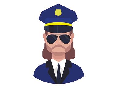 Police officer avatar portrait policeman police officer police logo flat human face avatar design vector