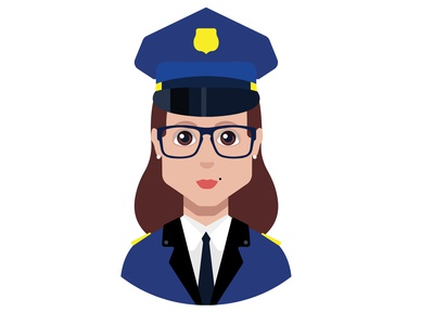 Police woman avatar vector symbol human flat face icon vector illustration woman avatar police