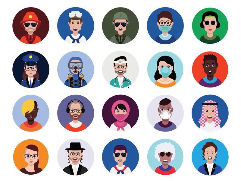 Avatar icon set symbol flat icon human face design avatar vector