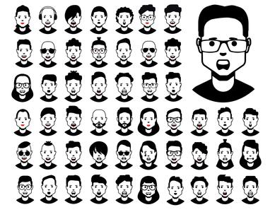 High quality avatar icon set design coal symbol flat face logo icon graphic avatar vector