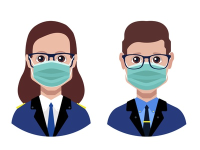 Avatar with medical face mask side person mask face coronavirus