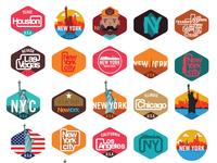 New York,Los angeles,Las vegas,Chicago,Huston sticker emblem