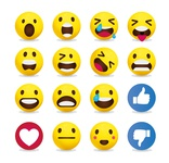 Yellow emoticon set collection