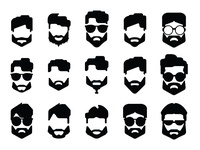 Hipster face with hairstyle and bread vector