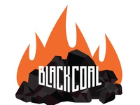 Black coal logo icon with flames
